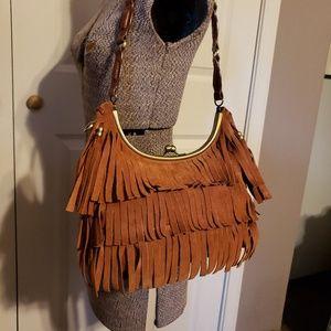 Maxximum Brown Leather Fringer Shoulder Bag
